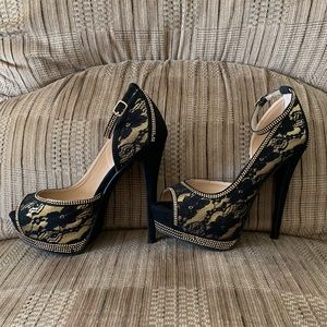 Black and gold floral lace heels with studs